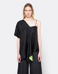 Maison Martin Margiela Silk One Shoulder Top Black