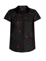 Jupe By Jackie Hickory Short Sleeved Cotton Organdie Shirt Black