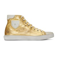 Saint Laurent Gold Bedford Mid Top Sneakers
