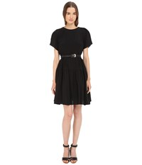 Vera Wang Short Sleeve Pleated Peasant Dress Black