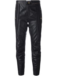 Chloe Cropped Leather Biker Trousers Black