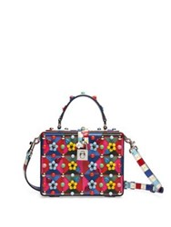 Dolce And Gabbana Miss Floral Embellished Leather Top Handle Bag Red Multi