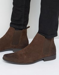 Asos Chelsea Boots In Brown Faux Suede Brown