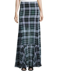 Mcq By Alexander Mcqueen Flared Fluid Plaid Silk Maxi Skirt Green Green Tartan