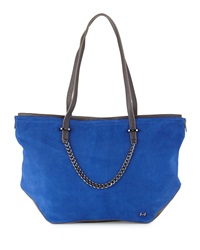 Leather And Suede Tote Bag Cobalt Multi Halston Heritage