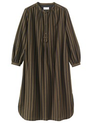 Toast Emma Wide Stripe Shirt Dress Dark Khaki Brown Washed Black
