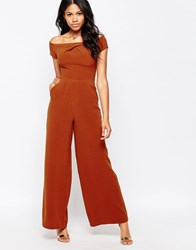 Love Bardot Wide Leg Jumpsuit Rust Orange