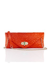 Shanghai Tang Cloud Quilted Leather Clutch Orange Red