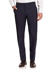Saks Fifth Avenue Modern Fit Wool Trousers Navy