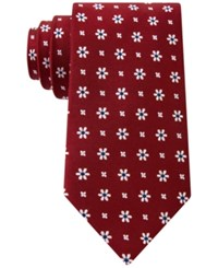 Club Room Men's Neat Daisy Print Classic Tie Only At Macy's Red
