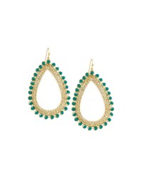 Nakamol Golden Czech Crystal Teardrop Earrings Green