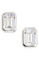 Lafonn Bezel Set Emerald Cut Stud Earrings Silver Clear