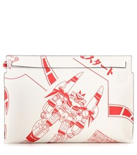 Loewe T Pouch Printed Leather Clutch White