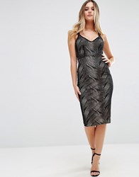 Jessica Wright Midi Dress With Double Straps Black Nude
