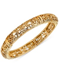 2028 Gold Tone Filigree Stretch Bangle Bracelet