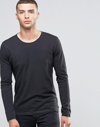 Sisley Long Sleeve T Shirt With Raw Neck Charcoal 15F Grey