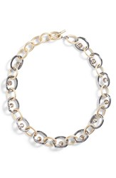 St. John Collection Swarovski Crystal And Metal Chain Necklace Dull Light Gold Ruthenium