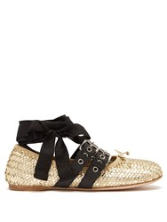 Miu Miu Buckle Fastening Woven Leather Ballet Flats Gold