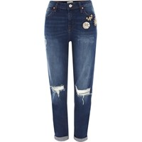 River Island Dark Blue Brooch Ripped Boyfriend Jeans