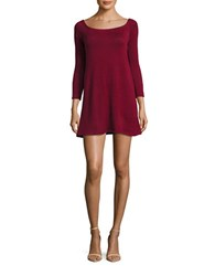 Design Lab Lord And Taylor Marled Knit Oversized Tunic Burgundy