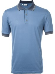 Brioni Contrast Collar Polo Shirt Blue