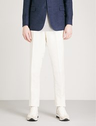 Ralph Lauren Purple Label Gregory Slim Fit Tapered Linen Blend Trousers Ivory