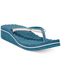 The North Face Women's Base Camp Ii Wedge Sandals Women's Shoes Grey Indian Teal Blue