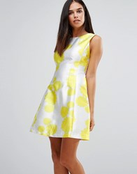 Ax Paris Floral Skater Dress Yellow