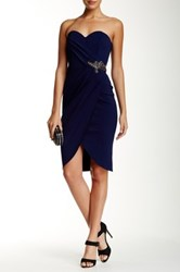 Little Mistress Embellished Strapless Sweetheart Dress Blue