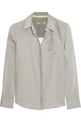 J Brand Hilary Striped Poplin Shirt Gray