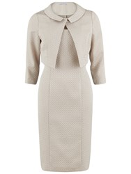Gina Bacconi Bow Jacquard Dress And Jacket Beige
