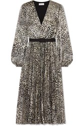 Rebecca Vallance Vienna Belted Metallic Leopard Jacquard Midi Dress Gold