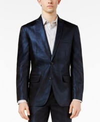 Inc International Concepts Men's Slim Fit Shiny Linen Blazer Only At Macy's Navy