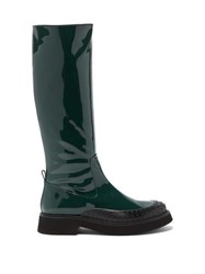 Tod's Gommini Knee High Leather Boots Dark Green