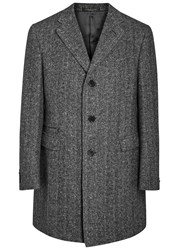 Corneliani Charcoal Herringbone Wool Blend Coat