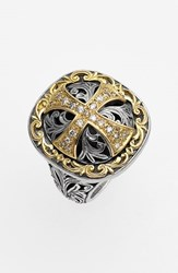 Konstantino Women's 'Diamond Classics' Diamond Cross Two Tone Ring