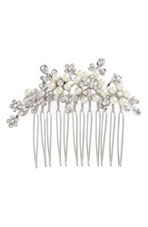 L. Erickson Elle Crystal And Imitation Pearl Hair Comb Crystal Pearl Silver