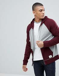 Abercrombie And Fitch Full Zip Hoodie Contrast Sleeve In Burgundy Grey Burgundy Grey Red