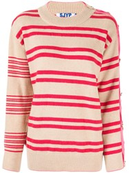 Sjyp Button Sleeves Stripe Pullover 60