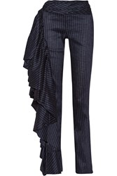 Rosie Assoulin Fiesta Ruffled Pinstriped Stretch Linen Blend Wide Leg Pants