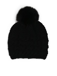 Inverni Braided Cashmere And Fox Fur Beanie Black