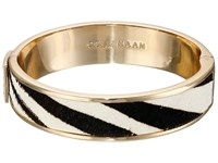 Cole Haan Wide Hinged Leather Inlay Bangle Gold Zebra Pony Hair Bracelet Multi