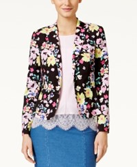 Cece By Cynthia Steffe Long Sleeve Floral Print Blazer Rich Black