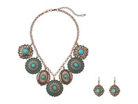 Mandf Western Dangle Disc Necklace Earrings Set Copper Patina Necklace Green