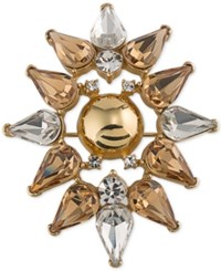 Trina Turk Gold Tone Metallic And Crystal Stylized Flower Pin