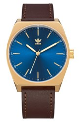Adidas Process Leather Strap Watch 38Mm Brown Blue Gold