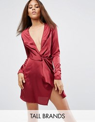 Missguided Tall Plunge Wrap Shift Dress Oxblood Red