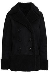 Mother Double Breasted Faux Shearling Coat Black