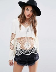 Kiss The Sky Flared Sleeve Top With Lace Inserts Cream