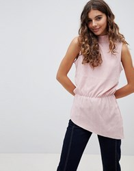 B.Young High Neck Asymmetric Blouse Rose Pearl Pink
